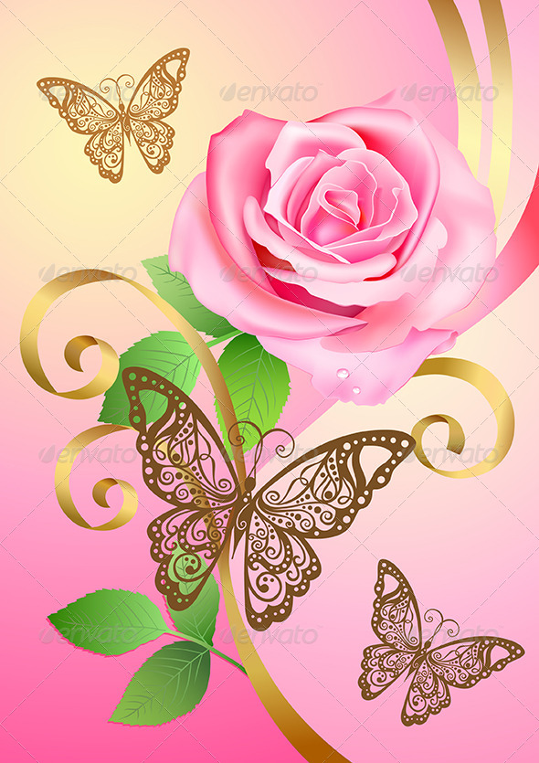 GraphicRiver Greeting Postcard with Rose and Butterflies 6074718