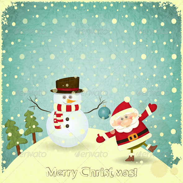 GraphicRiver Santa Claus and Snowman 6075381
