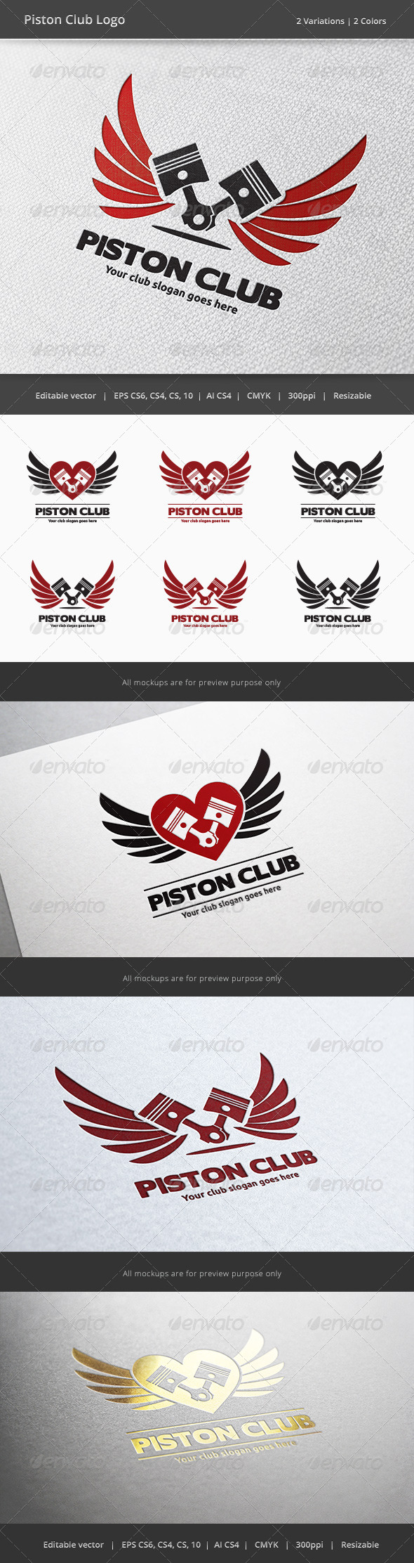 GraphicRiver Piston Car and Motorcycle Club Logo 6075858