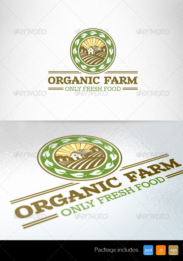 Organic Farm Fresh Food Logo Template