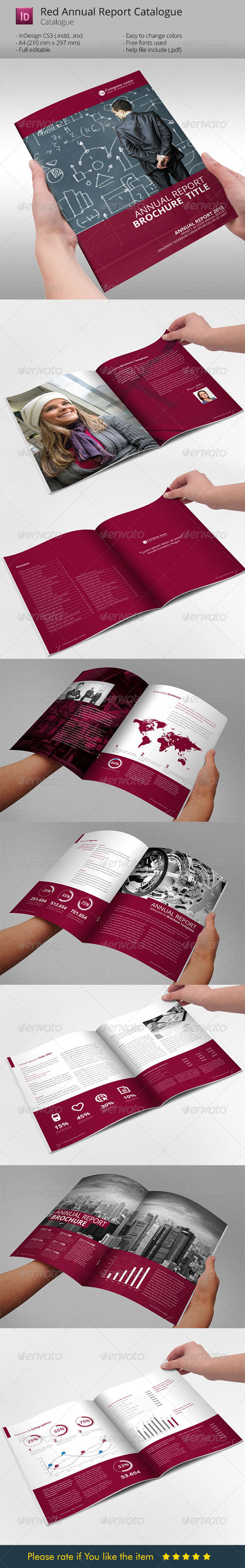 GraphicRiver Red Annual Report Brochure Indesign Template 6076005
