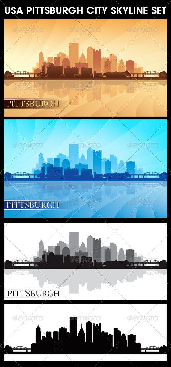Pittsburgh USA City Skyline Silhouettes Set