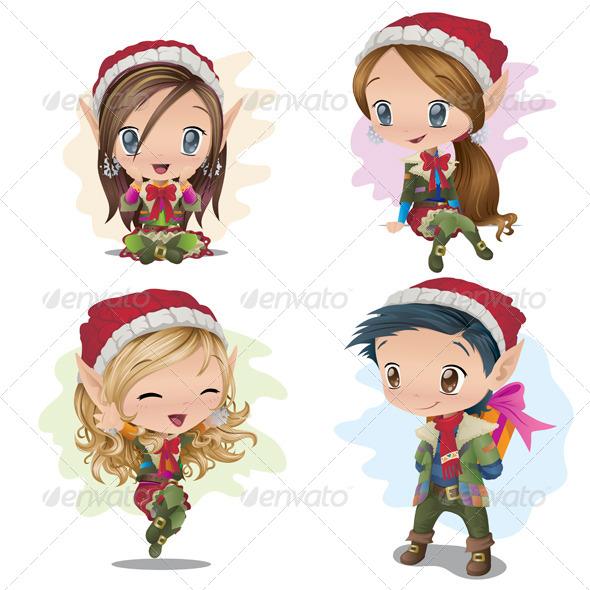 GraphicRiver Santa Elves 6076384