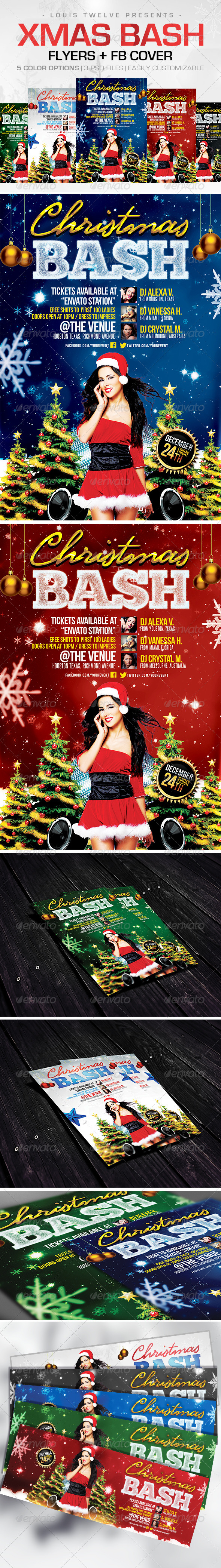 GraphicRiver Christmas Bash Flyers & FB Cover 6076635