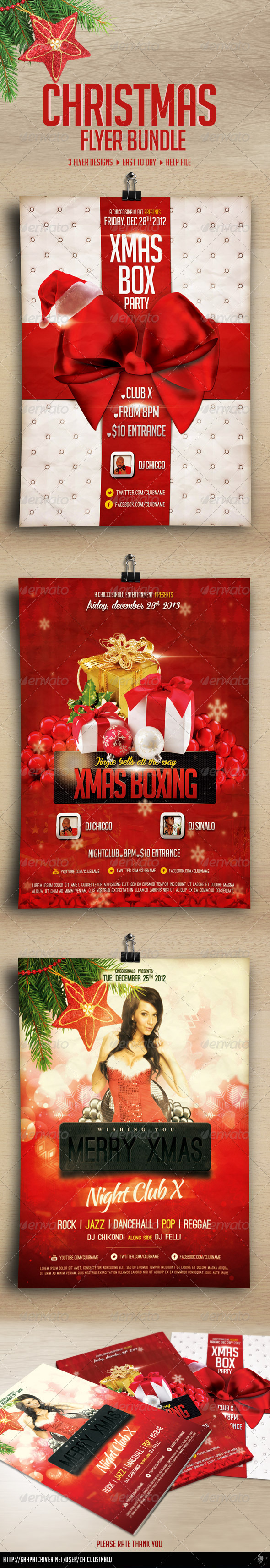GraphicRiver Christmas Flyer Bundle 6076657