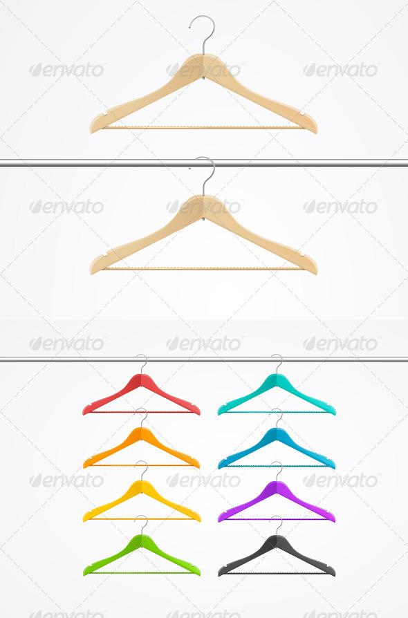 GraphicRiver Wooden Rainbow Coat Hanger Set 6076787