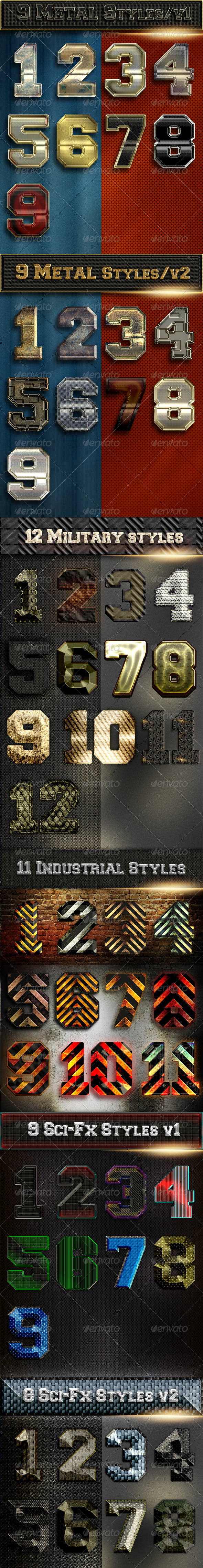 Bundle 58 Text Metal Military Sci-Fx Styles - Styles Photoshop