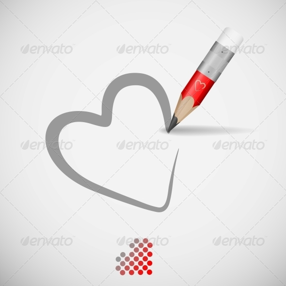 GraphicRiver Pencil And Heart 6077856