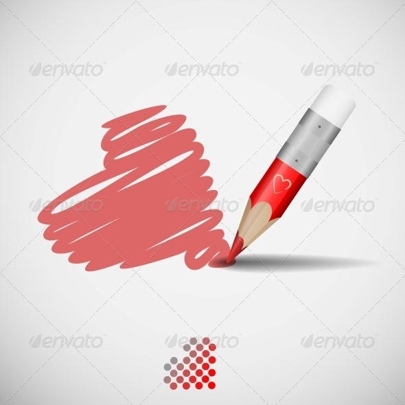 GraphicRiver Pencil And Heart 6077858