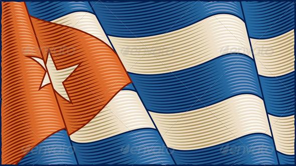 Vintage Cuban Flag Background
