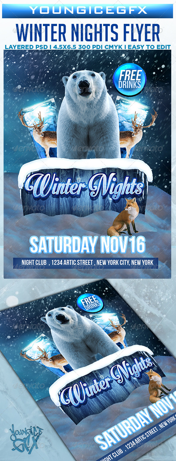 GraphicRiver Winter Nights Flyer Template 6023886