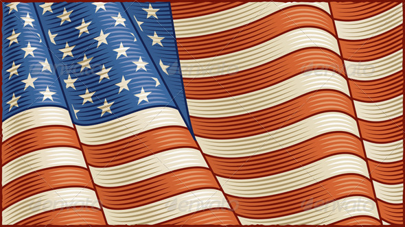 GraphicRiver Vintage American Flag Background 6078459