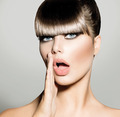 Fringe. Fashion Model Girl With Trendy Hairstyle. Vogue Style