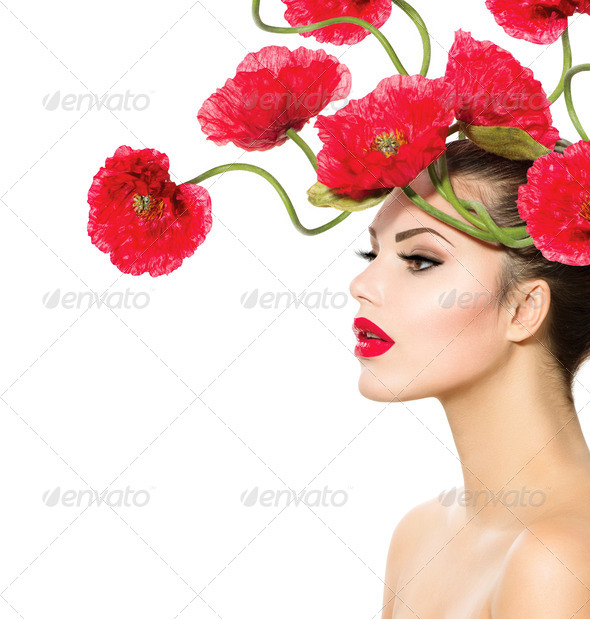 Beauty Fashion Model Woman with Red Poppy Flowers in her Hair - Stock Photo - Images