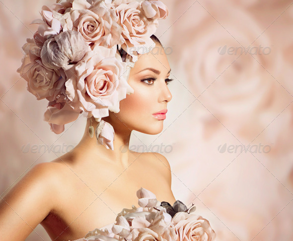 Fashion Beauty Model Girl with Flowers Hair. Bride - Stock Photo - Images