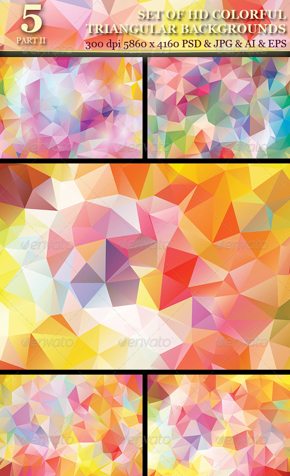 GraphicRiver Set of 5 HD Colorful Triangular Backgrounds 6079033