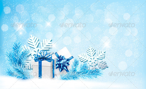 GraphicRiver Christmas Blue Background with Gift Boxes 6079583