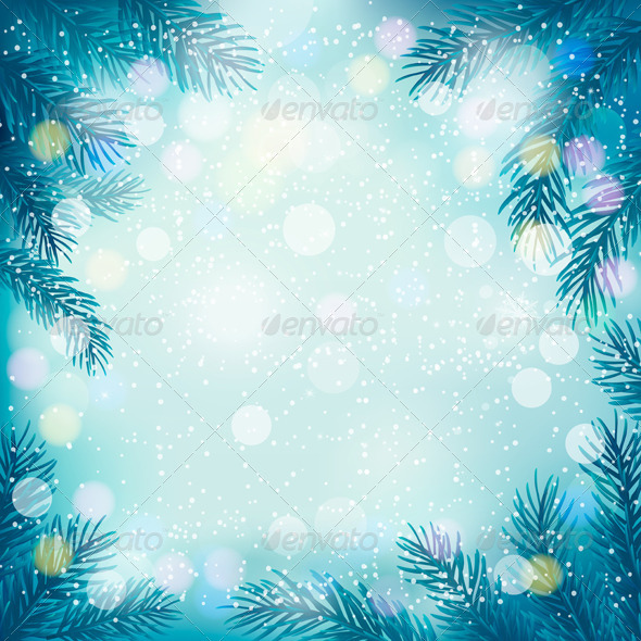 GraphicRiver Christmas Retro Background with Tree Branches 6079653