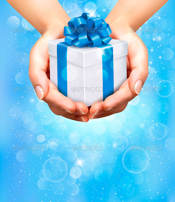 Holiday Background with Hands Holding Gift Box