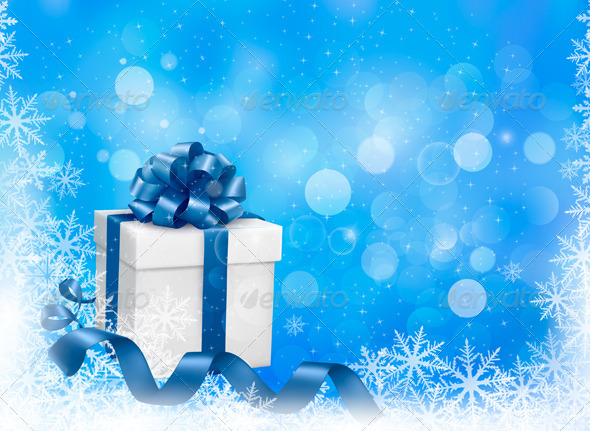 GraphicRiver Christmas Blue Background with Gift Boxes 6079734