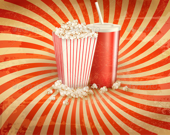 GraphicRiver Retro Background with Popcorn and Drink 6079886
