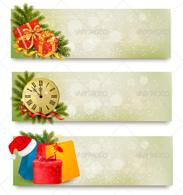 Three Christmas Banners with Gift Boxes
