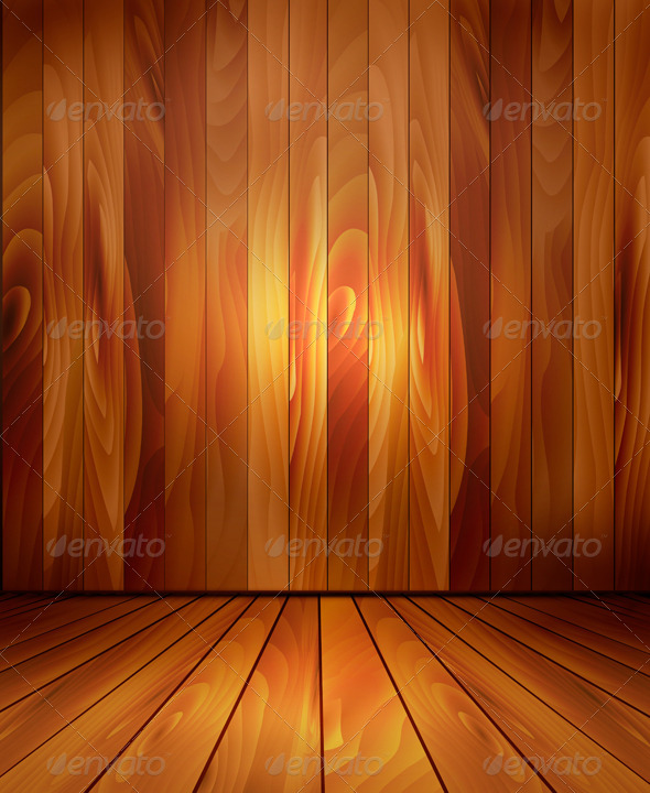 GraphicRiver Background with Wooden Wall and a Wooden Floor 6080107