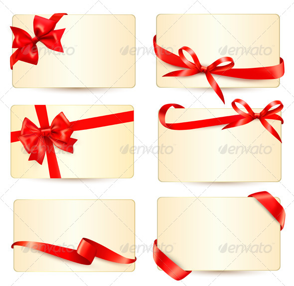 GraphicRiver Set of Gift Cards with Red Gift Bows 6080206