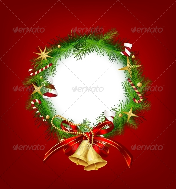 GraphicRiver Christmas Garland with Bells and Holly Berry 6080708