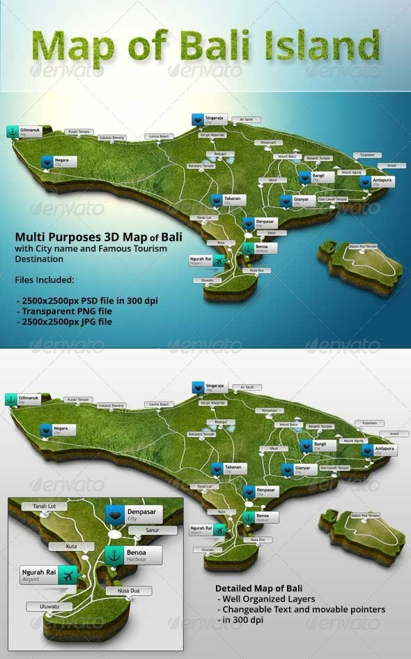 GraphicRiver 3D Map of Bali 6061688