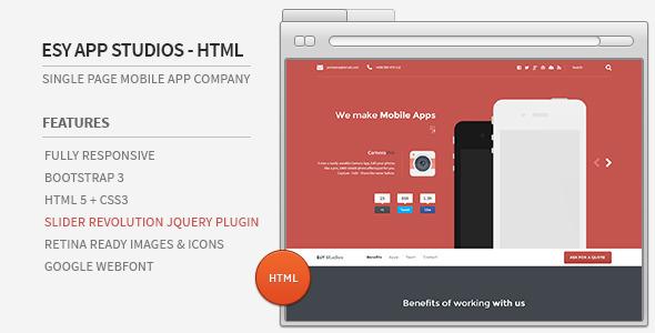 ThemeForest Esy App Studios HTML Website 6080858