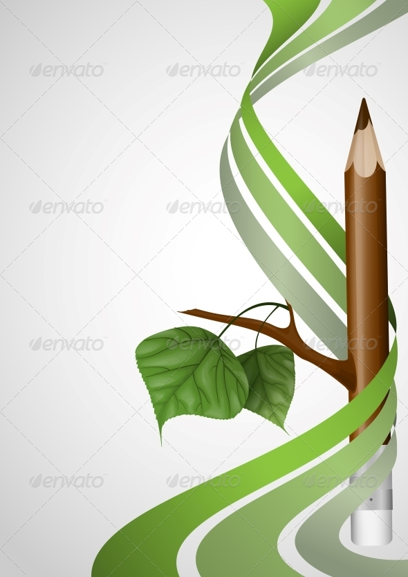 GraphicRiver Wooden Pencil with Leaf 6080884