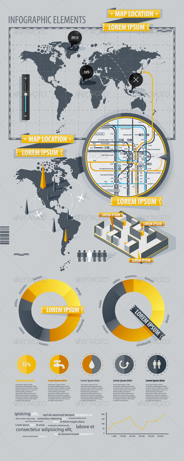 GraphicRiver Infographic Elements with world map 634758