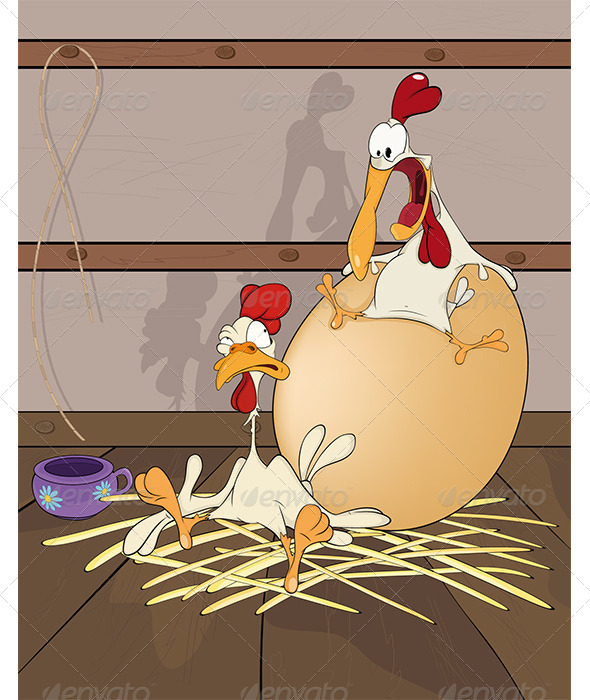 GraphicRiver Hen and Cock the Big Egg Cartoon 6080929