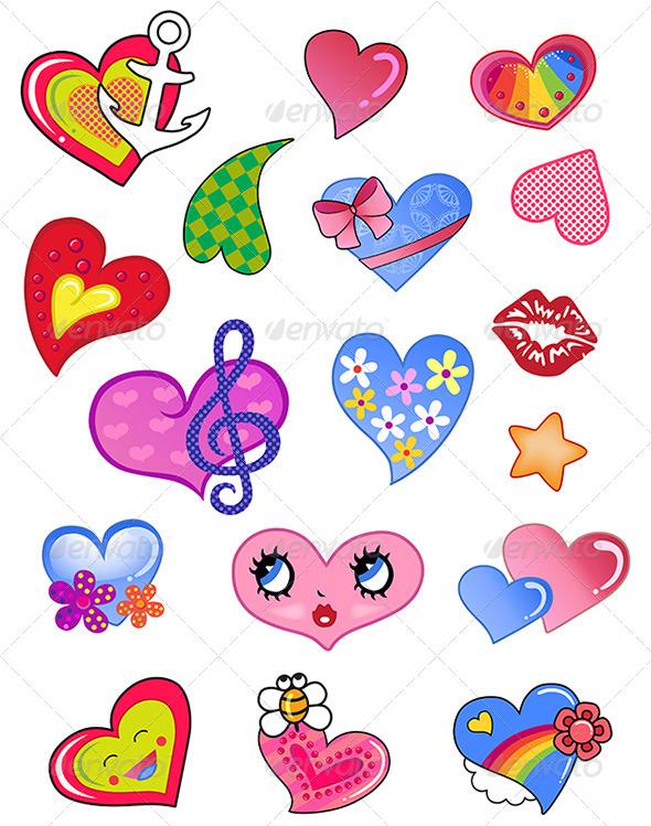 GraphicRiver Comic Hearts Set 6081157