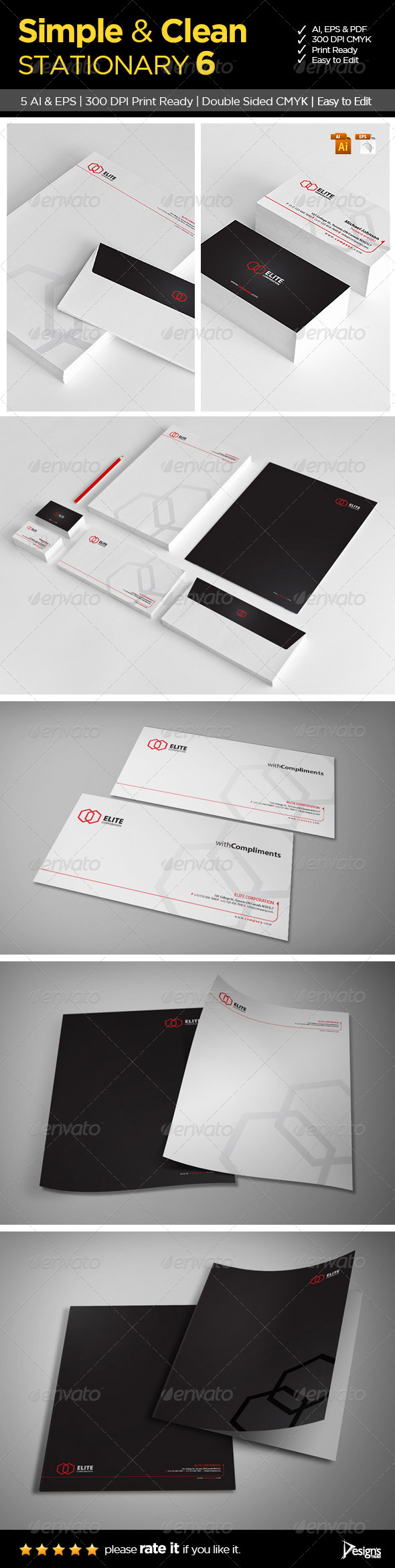 GraphicRiver Simple and Clean Stationary 6 6081263