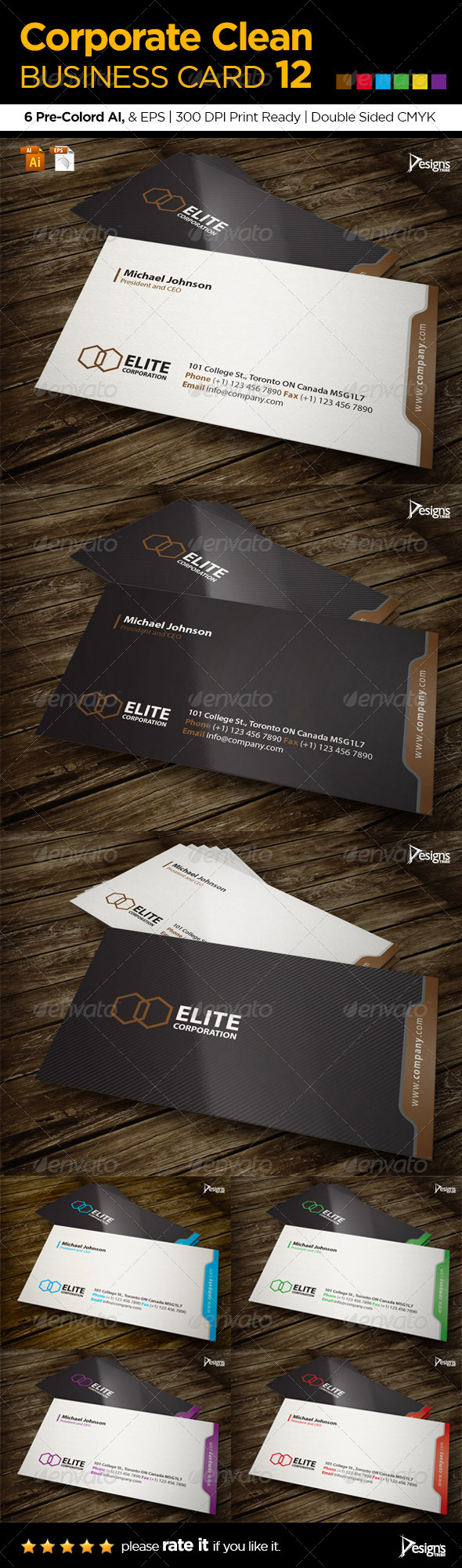 GraphicRiver Corporate Clean Business Card 12 6081286