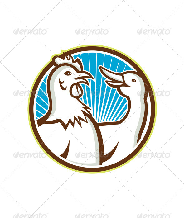 GraphicRiver Chicken With Goose Cartoon 6081695