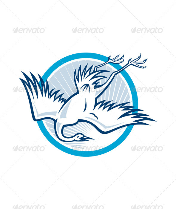 GraphicRiver Heron Crane Diving Down Cartoon 6081772