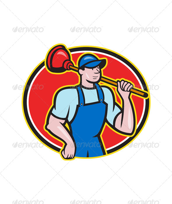 GraphicRiver Plumber Holding Plunger Cartoon 6081794