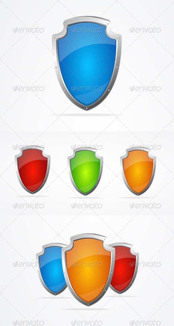 GraphicRiver Vector Empty Metal Shields Icon Set 6082582