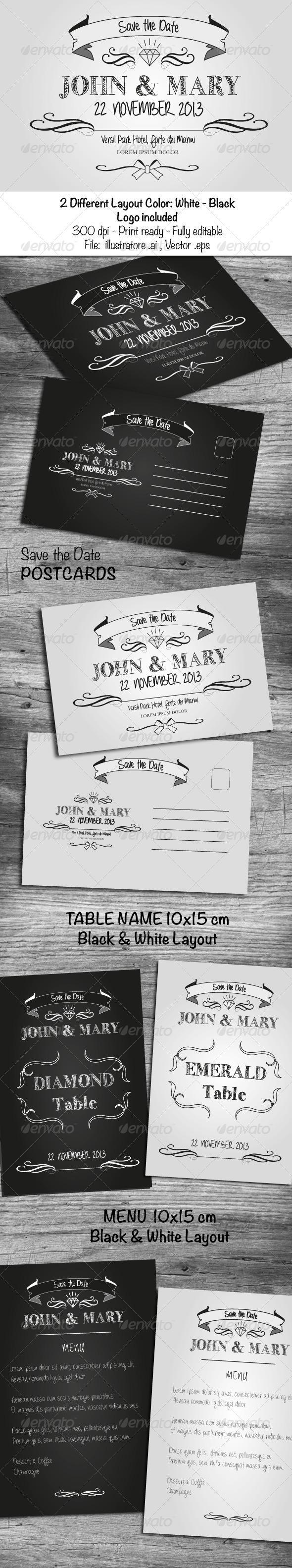 GraphicRiver Black & White Wedding Cards 6030621