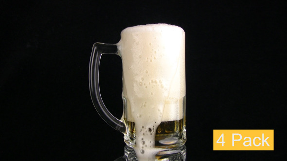 Beer Is Poured In A Mug 4-Pack