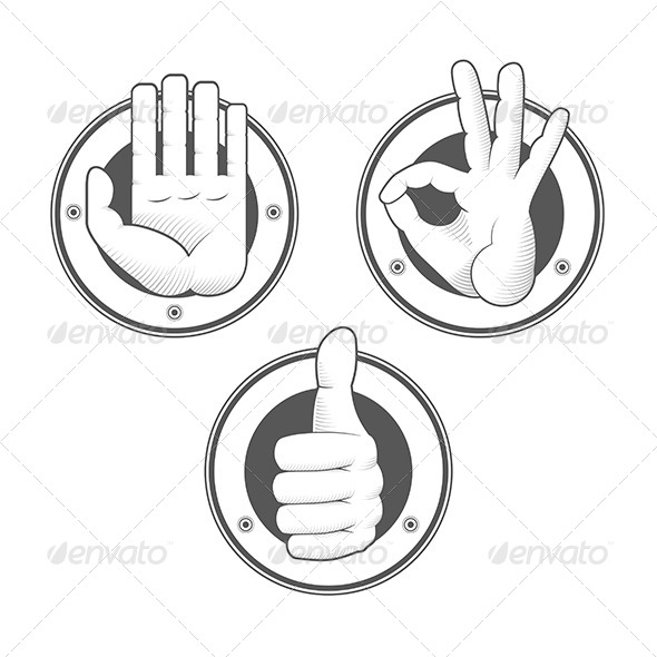 GraphicRiver Hand Signs Stamps 6082760