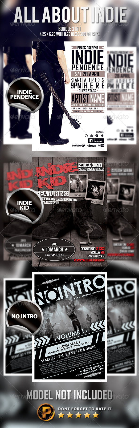 GraphicRiver All About Indie Bundle 3 in 1 6082784