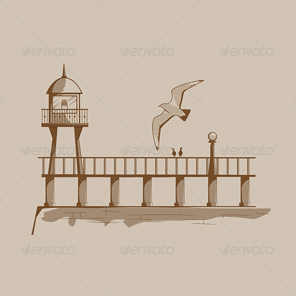 GraphicRiver Old Lighthouse on a Pier 6082790
