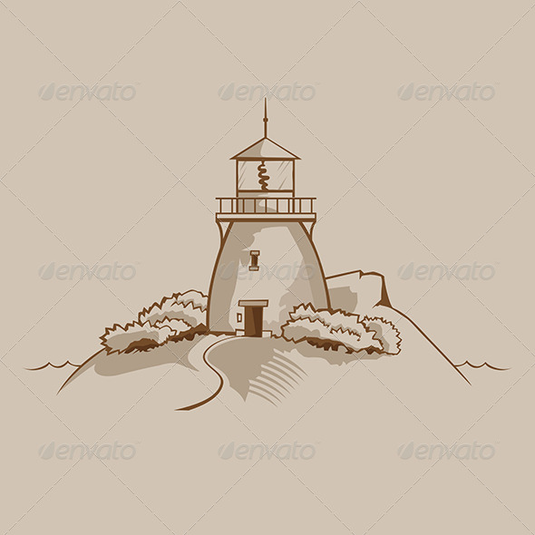 GraphicRiver Lighthouse on a Rock 6082793