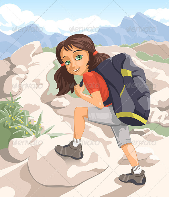 GraphicRiver Girl with a Backpack 6082836