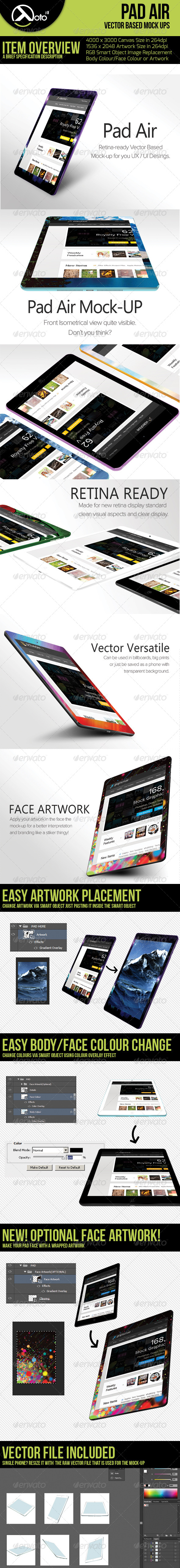 Pad Air Vector Based Mock-up - Product Mock-Ups Graphics