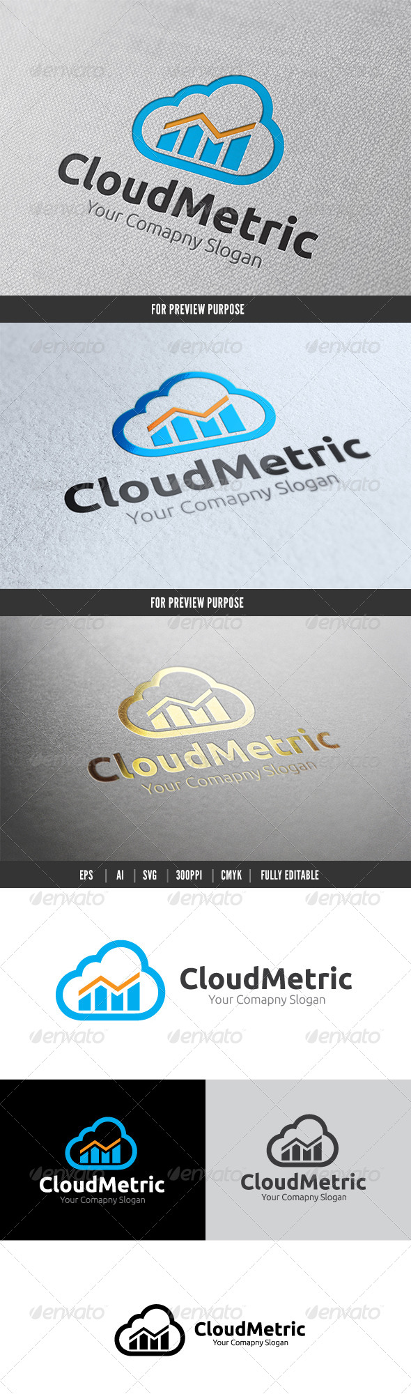 GraphicRiver Cloud Metric Logo 6083306